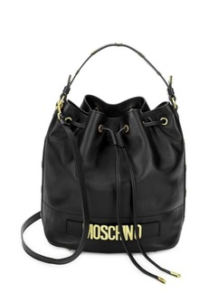 Moschino Drawstring Leather Bucket Bag
