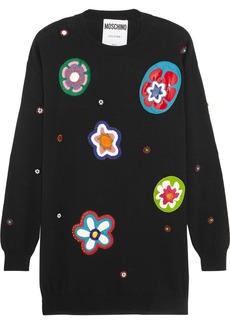 Moschino Embellished appliquéd wool mini dress