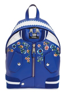 Moschino Embroidered Floral Bomber Jacket Leather Backpack
