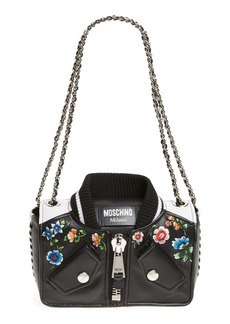 Moschino Embroidered Floral Bomber Jacket Leather Shoulder Bag