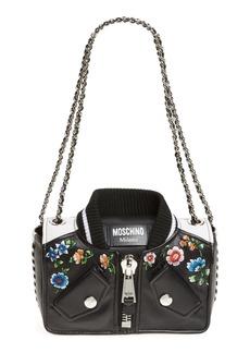 Moschino Embroidered Floral Bomber Jacket Leather Shoulder Bag