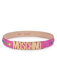 Moschino Embroidered Mirror Logo Belt