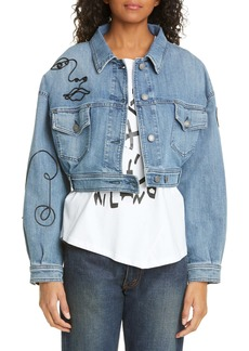 Moschino Face Embroidered Crop Denim Jacket