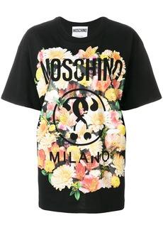 Moschino floral print logo T-shirt - Black