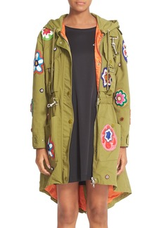 Moschino Flower Patch Embroidered Parka