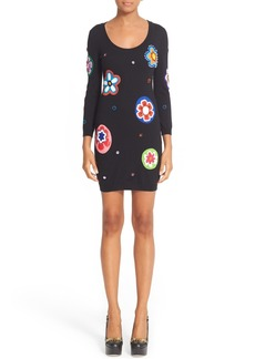 Moschino Flower Patch Embroidered Wool Dress