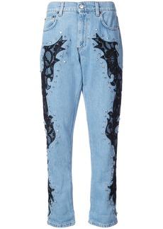 Moschino lace detail boyfriend jeans - Blue