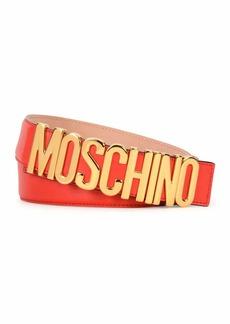 Moschino Large Logo Adjustable Leather Belt