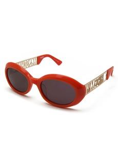 Moschino Laser-Cut Monochromatic Oval Sunglasses