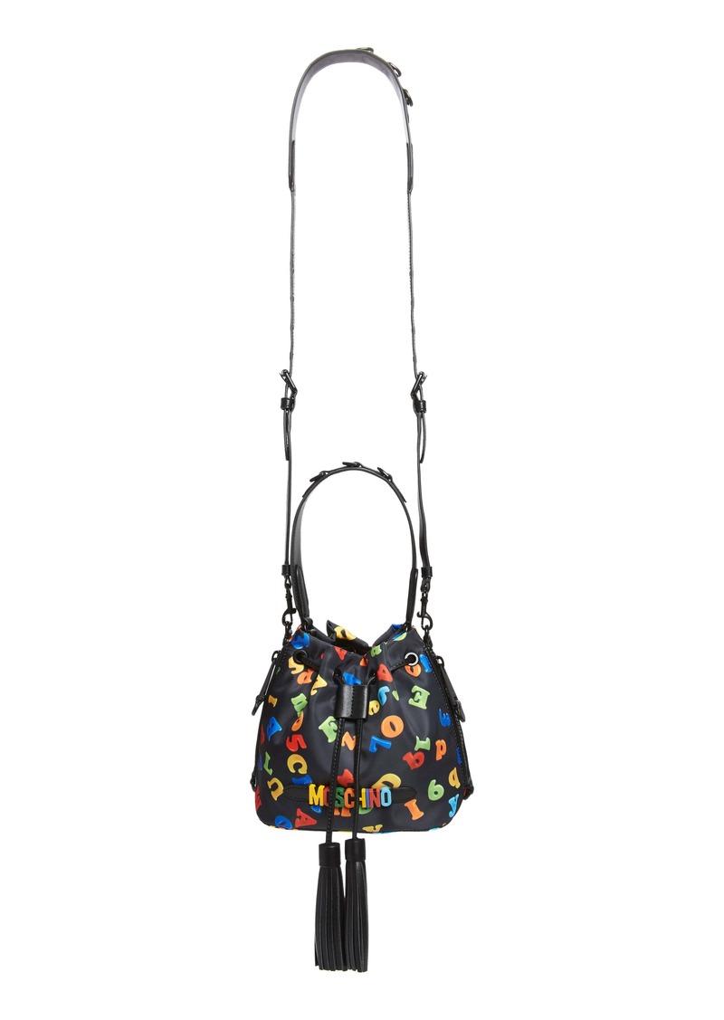 Moschino Letter Fabric Bucket Bag
