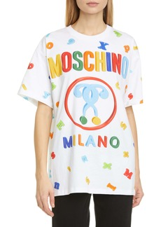 Moschino Letter Print Oversized Graphic Tee
