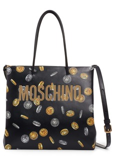 Moschino Logo Coin Print Faux Leather Tote