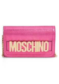 Moschino Logo Leather Wallet on a Chain