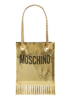 Moschino Logo Metallic Mesh Fringe Bag