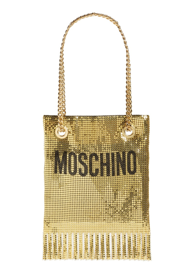Moschino Logo Metallic Mesh Fringe Bag