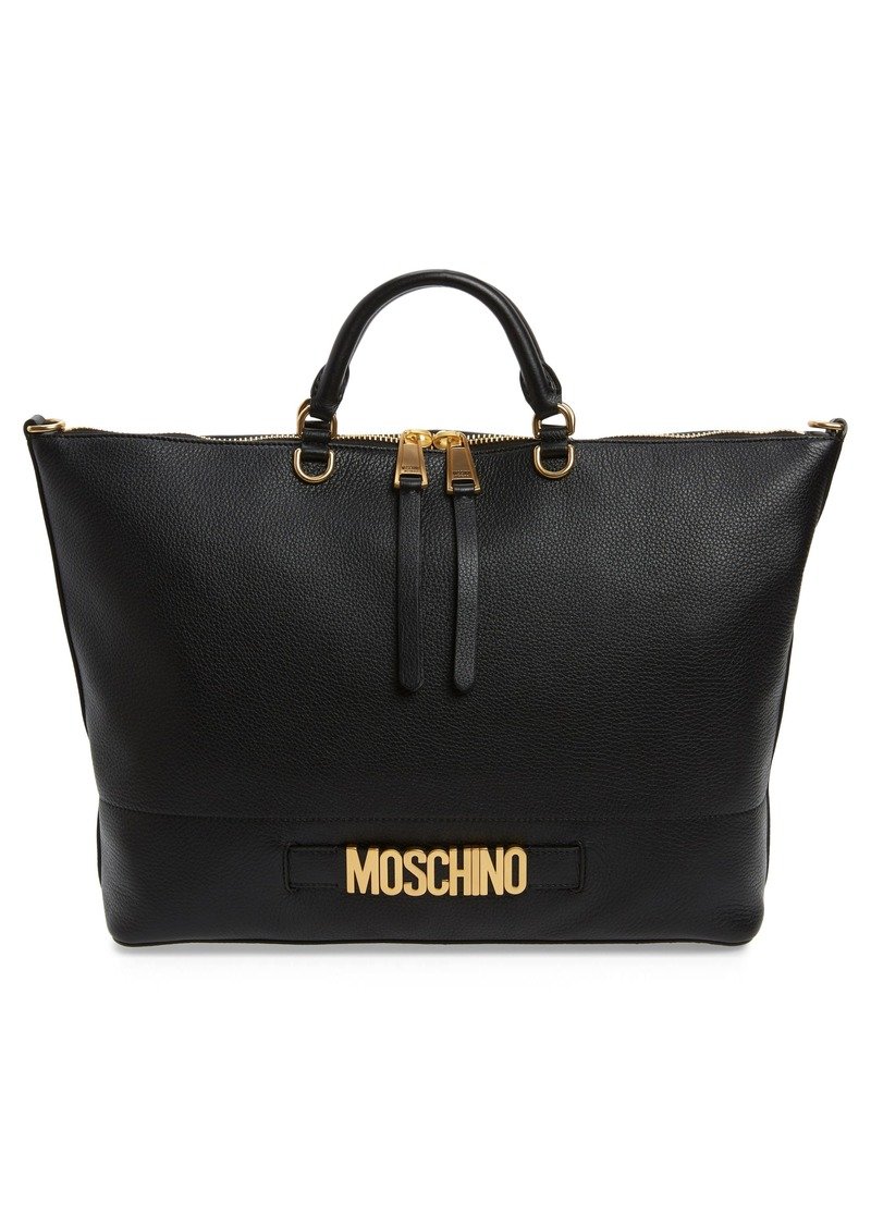 Moschino Logo Pebbled Leather Tote
