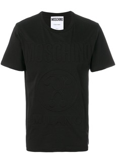 Moschino logo printed layered neckline T-shirt - Black