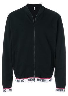 Moschino logo stripe zipped sweater - Black