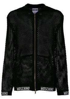 Moschino mesh knit hoodie - Black