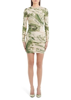 Moschino Money Print Ruched Long Sleeve Wool Minidress