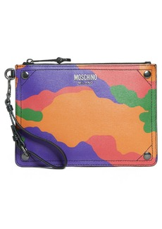 Moschino Multi Camo Print Leather Zip Pouch Wristlet