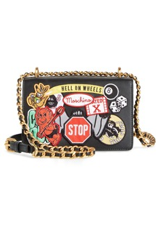 Moschino Multi Patch Leather Chain Shoulder Bag