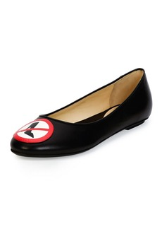 Moschino No Heels Leather Ballerina Flat