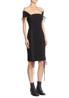 Moschino Off-The-Shoulder Lace-Up Dress