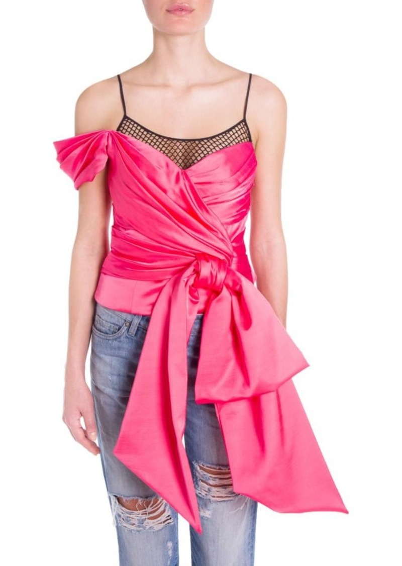 Moschino One-Shoulder Bow & Fishnet Blouse