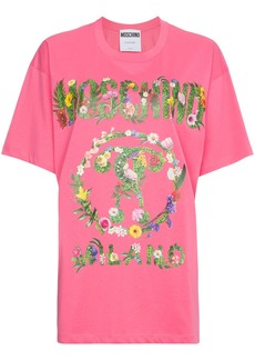 Moschino oversized floral logo print cotton t shirt - Pink & Purple