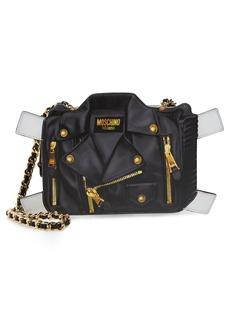 Moschino Paper Doll Biker Leather Shoulder Bag