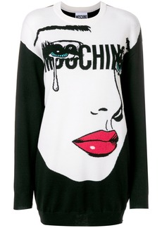 Moschino pop art print knitted dress - Black