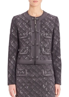 Moschino Quilted Four-Pocket Print Jacket