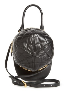 Moschino Quilted Logo Cap Leather Crossbody Bag