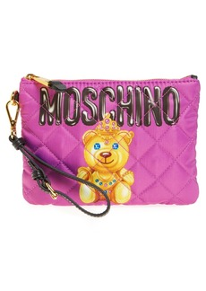 Moschino Quilted Teddy Wristlet