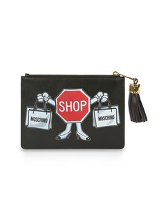 Moschino Shop Sign Printed Leather Clutch Bag