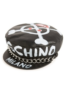 Moschino Skulls Leather Cap