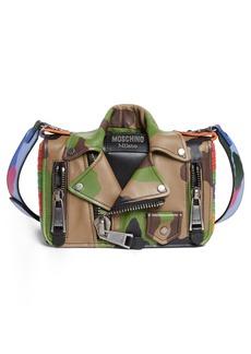 Moschino Small Biker Jacket Multi Camo Shoulder Bag