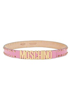 Moschino Studded Logo Leather Belt