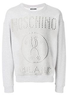 Moschino studded logo sweatshirt - Grey