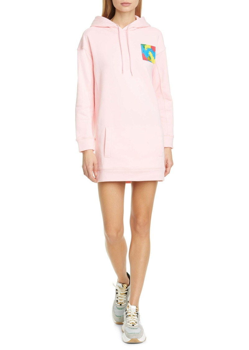 Moschino Teddy Logo Long Sleeve Hoodie Dress
