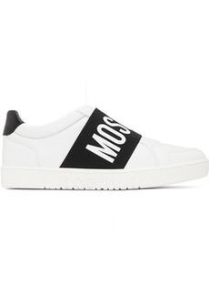 Moschino White & Black Logo Strap Sneakers