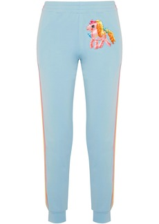 Moschino Woman + My Little Pony Appliquéd Cotton-blend Jersey Track Pants Light Blue