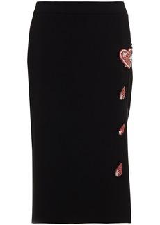 Moschino Woman Appliquéd Crepe Pencil Skirt Black