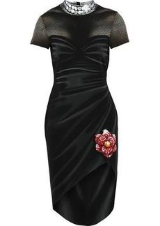 76c18846b8 Moschino Woman Asymmetric Printed Stretch-crepe Mini Dress Black