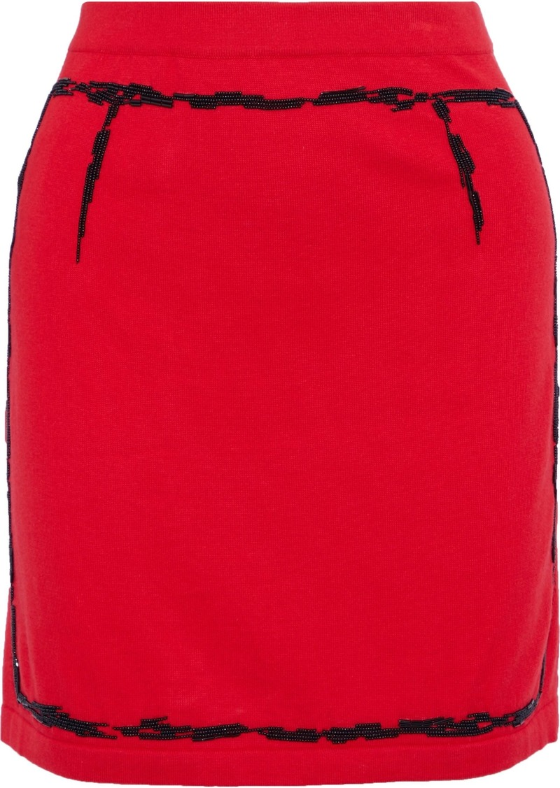 Moschino Woman Bead-embellished Cotton And Cashmere-blend Mini Skirt Red