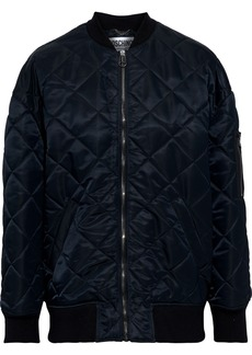 Moschino Woman Bead-embellished Quilted Satin-shell Bomber Jacket Black