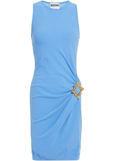 Moschino Woman Buckle-embellished Draped Stretch-knit Mini Dress Light Blue