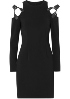 Moschino Woman Cold-shoulder Leather-trimmed Crepe Mini Dress Black