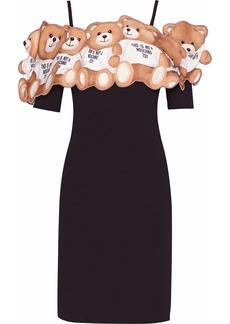 Moschino Woman Cold-shoulder Printed Neoprene-appliquéd Crepe Mini Dress Black